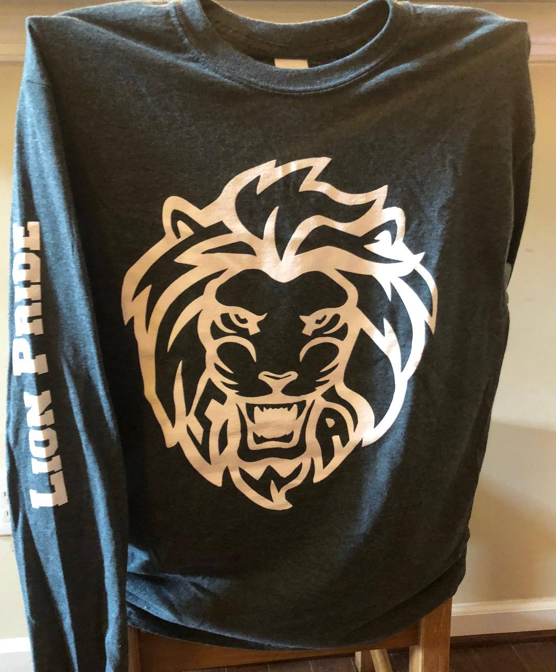 Long Sleeve Grey Lion Shirt Size Adult Small